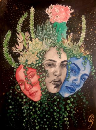 Succulente - 50€ - Œuvre originale Aquarelle, peinture acrylique et peinture dorée. 24x32 cm Papier aquarelle de qualité